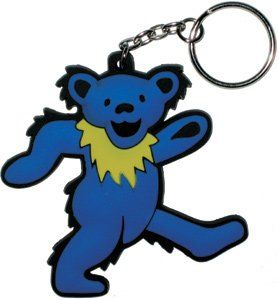 Grateful Dead Blue Dancing Bear Set of 2 Rubber Keychains