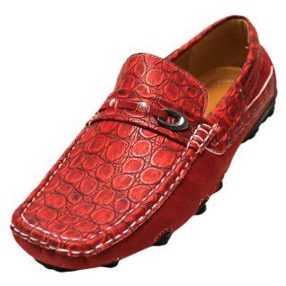 com Mens Red Italian Designed Croco Textured Loafer Slip Ons Shoes
