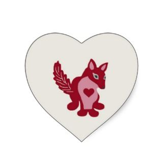 sticker featuring a red and pink fox with a red heart these stickers