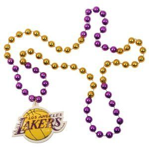 Los Angeles Lakers NBA Bead Necklace with Team Medallion