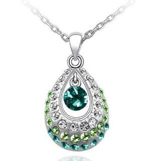 Crystal Princess Teardrop Pendant Necklace 19 CN9038G Jewelry