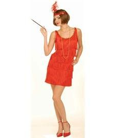Roaring 20s Flapper Adult Costume Red Dress   XS/S