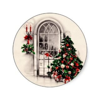 Vintage Christmas Window Stickers