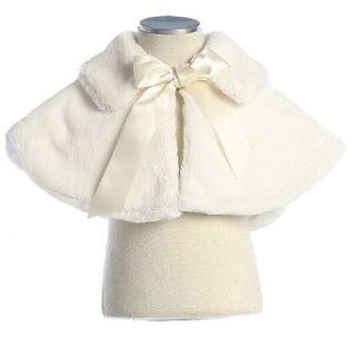 Baby Girls Ivory Faux Fur Ribbon Special Occasion Cape
