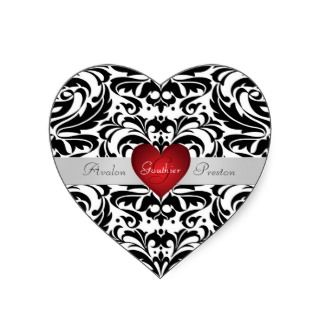 Black & White Damask Red Heart Wedding Sticker