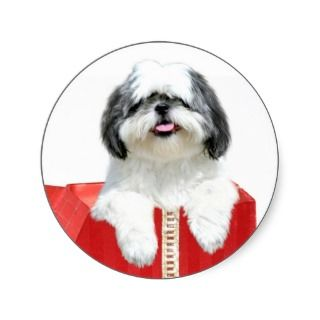 Shih Tzu Christmas gift Round Sticker