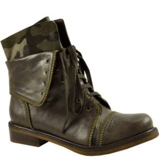 Bakers Womens Combat Military Boot Brown 5 Shoes
