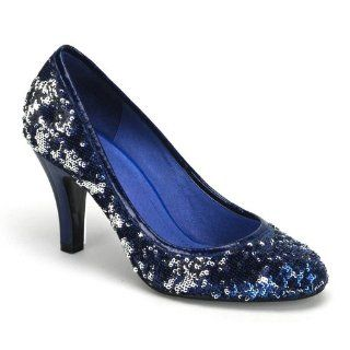 Sequin Pump Shoes Reversible Sequins Rounded Toe Black Blue Red Shoes