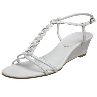 Etienne Aigner Womens Rory T Strap Wedge,White Calf,5 N US Shoes