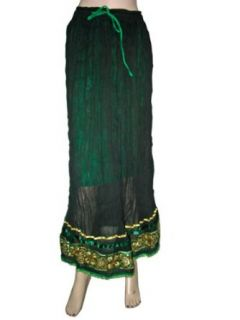 Indian Maxi Skirt Green Full/Ankle Length Gypsy Bohemian