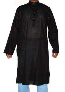Indian Cotton Casual Wear Black Kurta Shirt with Standing