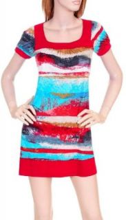 Sexy Red, White & Aqua Watercolor Mini Dress S M L