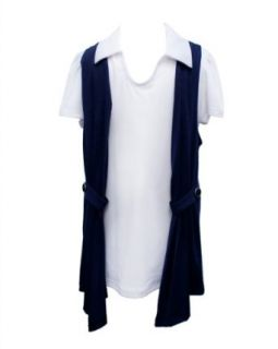 Girls Navy Blue Cardigan and White Collared Short Sleeve