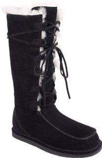 Bearpaw Womens Suede Fashion Boots   Style 450 Diva (5, Black) Shoes
