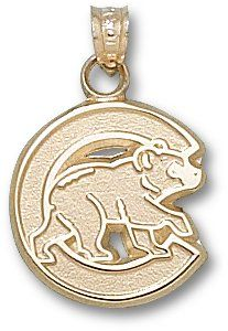 Chicago Cubs C W/ Bear 5/8 Sterling Silver Charm