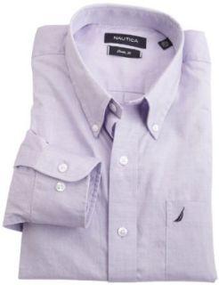 Nautica Mens Solid Button Down Shirt, Purple, 17.5 34 35 Clothing