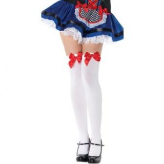 Opaque Thigh High Stockings With Satin Bow 6255 (WHITE/RED