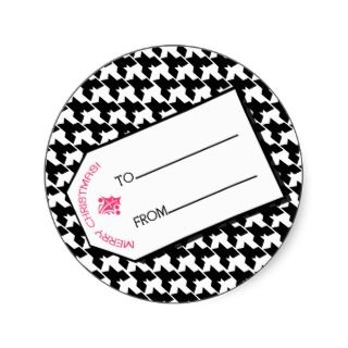 Houndstooth & Pink Christmas Gift Tag Sticker