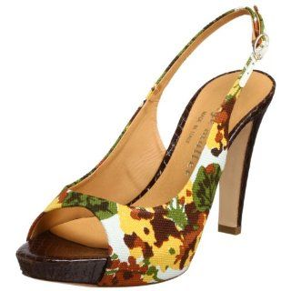 Bettye Muller Womens Casino Sandal,Brown/Green Floral,38 EU Shoes