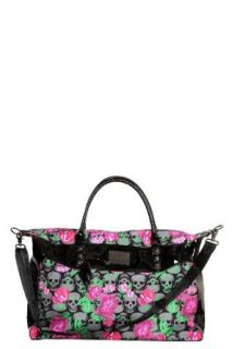 Betseyville   Black Skull and Pink Floral Weekend Bag