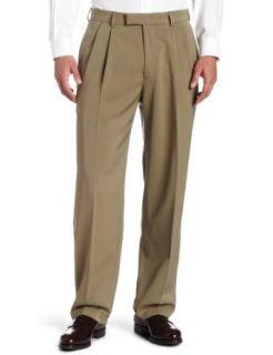 Haggar Mens Tonal Stria Pleat Front Cuff Dress Pant