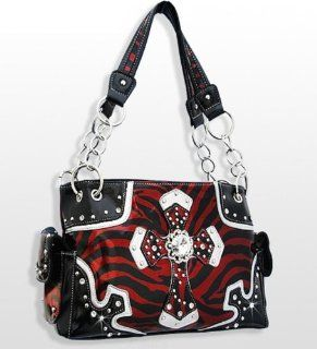 Red Western Style Cross Purse with Rhinestones Shoes