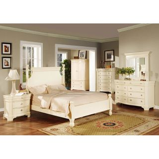 Transitional White Finish 4 piece Queen size Bedroom Set