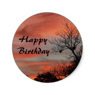 Happy Birthday, pink sunrise with tree Sticker