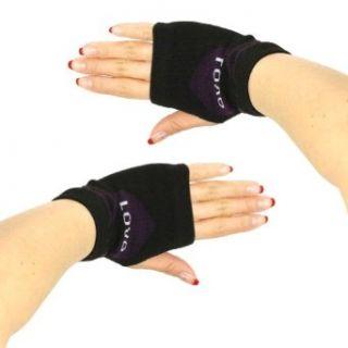 Knit Hand Warmer Fingerless Love Heart Gloves Purple with