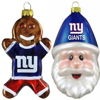 NFL New York Giants Blown Glass Gingerbread Man & Santa