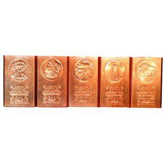 999 Pure Copper Bullion Bars In 5 Different Collectible 2012 Designs