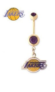 Los Angeles Lakers Gold Plated 14 Gauge Belly Button Ring