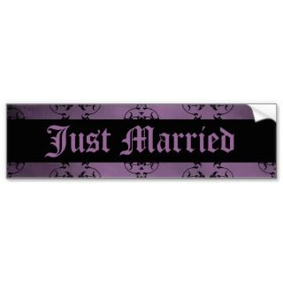 Gothic dirty purple damask Just Married Bumper Sticker