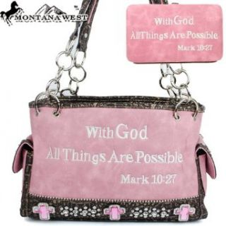 Montana West Bible Verses Embroidery Handbag in Light Pink