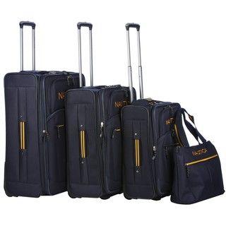 Nautica Helmsman Navy / Yellow 4 piece Luggage Set