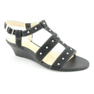 Evie Womens Size 7.5 Black Black Leather Wedge Sandals Shoes Shoes