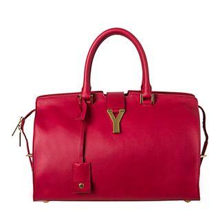Yves Saint Laurent Cabas Classique Y Red Leather Tote Bag