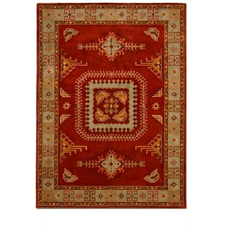 Tufted Tempest Red/Olive Green Area Rug (8 x 11)