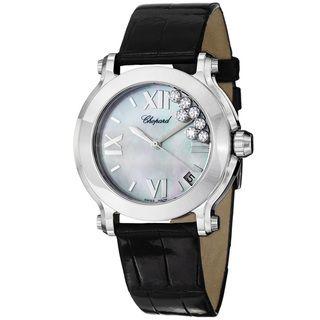 Chopard Womens Happy Sport Round Black Leather Strap Diamond Watch