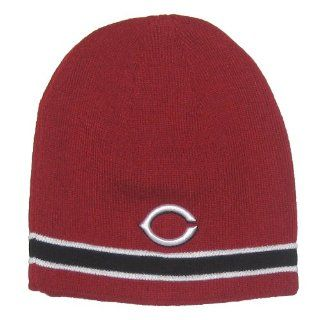 Cincinnati Reds MLB Red & Black Stripe Knit Beanie Hat