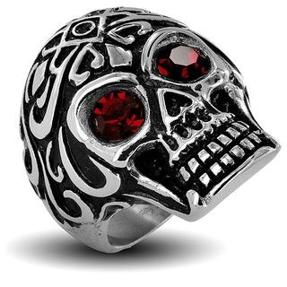 Stainless Steel Mens Red Cubic Zirconia Eyes Skull Ring