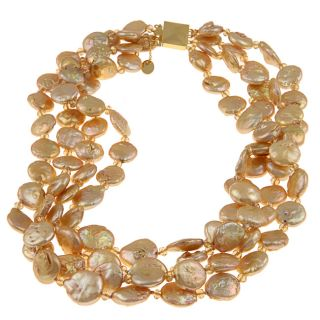 Goldtone Freshwater Pearl and Crystal Twisted Necklace (13 14 mm
