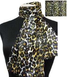 Scarf Gold Black Leopard Animal Print Oblong 13x60