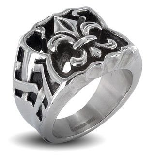 Stainless Steel Mens Large Fleur De Lis Ring