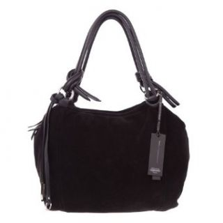 GIANNI CHIARINI Italian Made Black Suede Designer Handbag