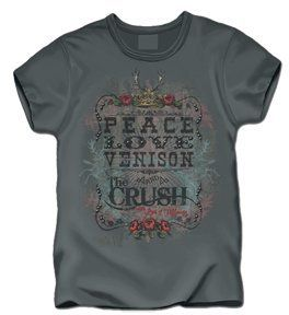 Club Red Crush Peace Love Venison T shirt Charcoal Medium