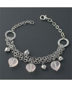 Rose Heart Silver Charm Bracelet (China)