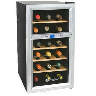 EdgeStar 18 Bottle Deluxe Dual Zone Wine Cooler with Wood Shelves