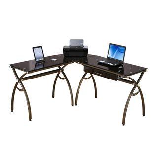 Loft Chic L shape Tempered Glass Computer Workstation Desk