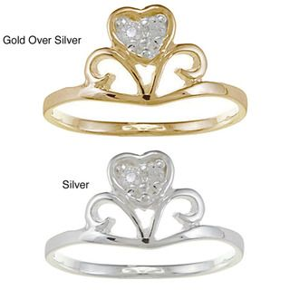 Gold over Silver/ Sterling Silver Clear CZ Heart Crown Baby Ring